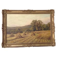 Painting Harvest, Oil on Canvas M. Corper 1893