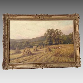 Painting Harvest, Oil on Canvas M. Corper 1893