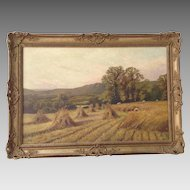Painting Harvest, Oil on Canvas Signed M. Corper 1893
