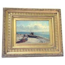 "Antique Oil on Canvas Painting James Bradley Original. 18.5"" x 22.5"""