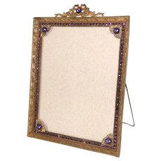 "Picture Frame Large Bronze Easel Purple Gemstones 1920s 8"" x 10"""