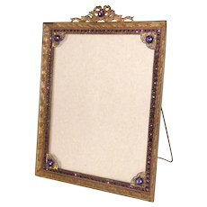 "Picture Frame Large Bronze Gemstones Easel Back Early 1900s 8"" x 10"""