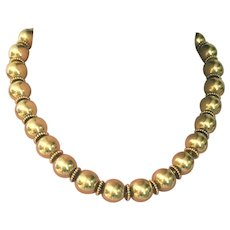Antique 18 Kt Yellow Gold Large Heavy Bead Necklace