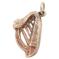 Irish Harp Charm 9 Kt Rose Gold Vintage .