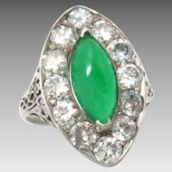 Vintage Ring 18Kt White Gold Jade Diamond Size 5
