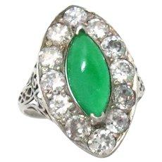 Vintage Ring 18Kt White Gold Jade Diamond Size 5