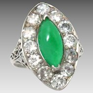Vintage Ring 18Kt White Gold Ct 1.35 Natural Jade Diamond