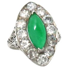 Vintage Ring 18Kt White Gold Ct 1.35 Natural Jade Diamond