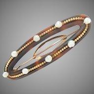 """Vintage Hair Barrette 14K Gold Mississippi Pearl 2.5"""" L"""