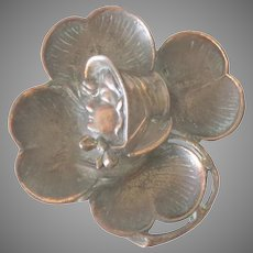 Antique Bronze Inkwell 4 Leaf Clover, Girl With Bonnet