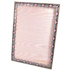"1920s Picture Frame Enamel Bronze Acanthus Easel Back 9.5"" x 7.75"""