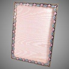 "1920s Picture Frame Enamel Bronze Acanthus Easel Back 9.5"" x 7.75"""