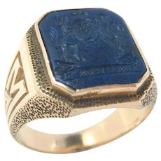 14K Gold School Ring Lapis Lazuli Baily, Banks & Biddle Co Vintage