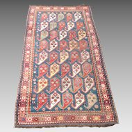 """Antique Caucasian Garabagh Wool Rug Circa 1900, 7"""" x 4.5"""""""