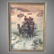 Russian Oil Painting Winter Original Stojanow 19th C.