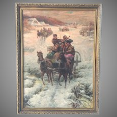 Russian Oil Painting Winter Original Stojanow 19th C.