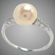 Antique Platinum Ring Diamond Pearl Edwardian Size 7.5
