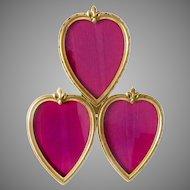 "Antique Picture Frame 3 Hearts Large Bronze Easel Back 12"" H"