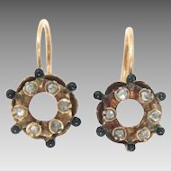 Antique Earrings 15 Kt Gold Black Enameled Rose Cut Diamonds Georgian