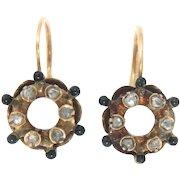 Antique Earrings 15 Kt Gold Black Enameled Rose Cut Diamonds Georgian