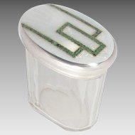 Art Deco Jar Sterling Crystal Enameled London Vintage