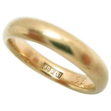Antique Wedding Band 14Kt Yellow Gold Size 7, 4 mm W