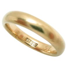 14 Kt Gold Wedding Band American Antique Ring Size 7, 4 mm. W