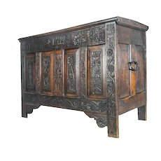 Antique 17th Century Italian Trunk Storage Chest Coffer