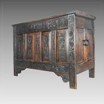 Antique 17th Century Italian Trunk Storage Chest Coffer