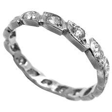 Vintage Wedding Band Ring Platinum Diamonds Size 5.5