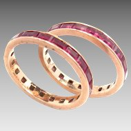 Vintage Bands 14 Kt Rose Gold Ruby Pair 1940s Size 6.25