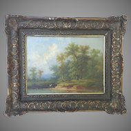"19th Century Oil on Canvas Painting Colestin Brugner Original  15"" x 18"""