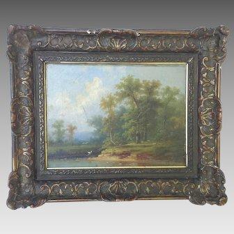 "19th Century Oil on Canvas Painting Colestin Brugner Original  15"" x 18"""