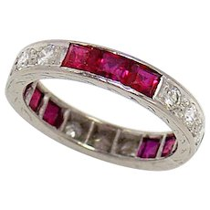 Vintage Wedding Band Ring Platinum Ruby Diamond Size 4.5