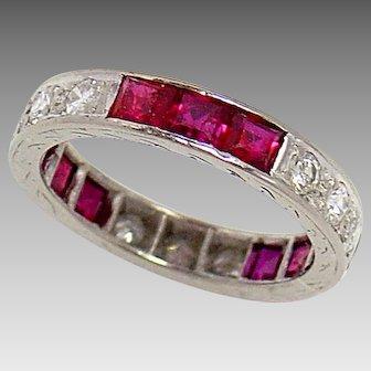 1930s Wedding Band Ring Platinum Ruby Diamond Size 4.5