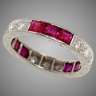 Wedding Band Ring Platinum Ruby Diamond 1930s Vintage Size 4.5