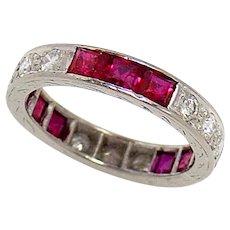Wedding Band Ring Platinum Ruby Diamond 1930s Vintage Size 4.5