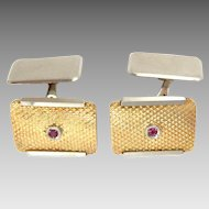 Vintage Cufflinks 18K Yellow & White Gold Ruby