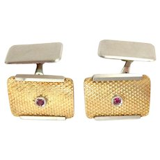 Vintage Cufflinks 18K Yellow & White Gold Ruby