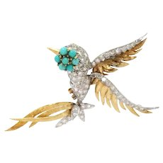 Bird Pin Brooch Platinum 18 Kt Gold Turquoise, Diamond Vintage Retro 1.25ct