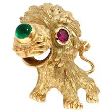 Pin Brooch 14 Kt Yellow Gold Lion Cub Ruby Onyx Vintage