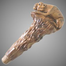 Walking Stick Handle Carved Wood Beast Glass Eyes Antique
