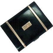Cigarette Case 14 Kt Gold Sterling Silver Enameled Vintage 72 g