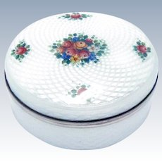 Antique Austrian Silver Enamel Pill Box