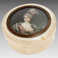 """Antique Snuff-Box Portrait Miniature Signed 2.5"""" Diam, 18th Century"""