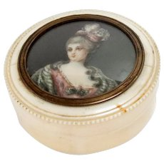 "Antique Snuff-Box Portrait Miniature Signed 2.5"" Diam, 18th Century"