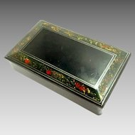 Victorian Black Papier-mache Snuff Box Antique