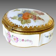 "Antique Porcelain Trinket Dresser Jewelry Box 3"" L, 2.75"" W, 1.25"" H."