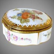 "Antique Porcelain Trinket Dresser Jewelry Box 3"" L, 2.75"" W, 1.25"" H."