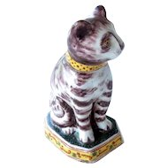 Dutch Delft Polychrome Glazed Pottery Cat 18th Century